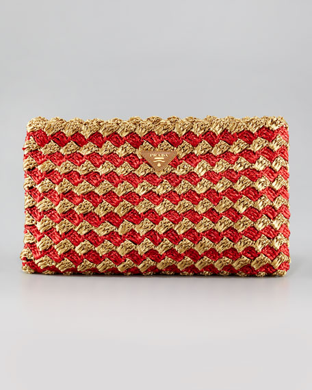 Prada Crocheted Raffia Large Clutch Bag