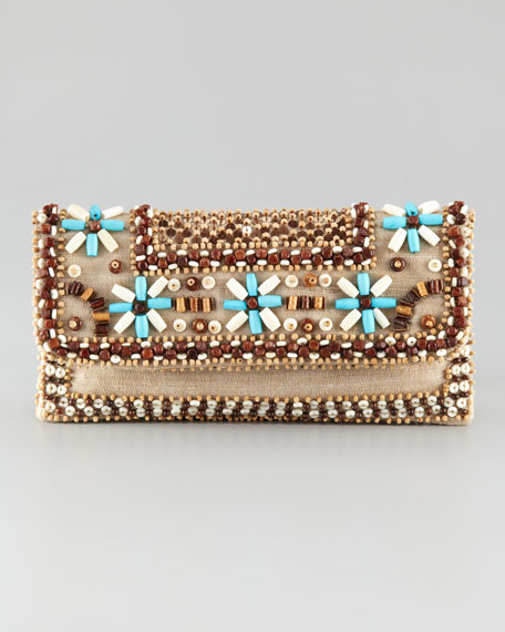 Floral-Bead Clutch Bag