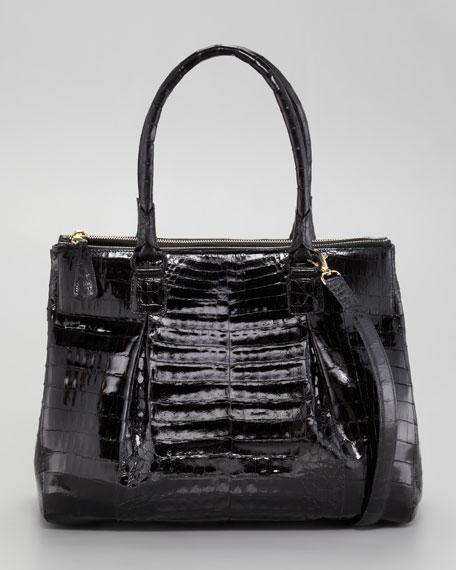 Crocodile Zip-Compartment Tote Bag, Large