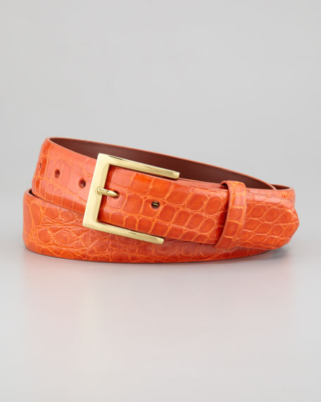Glazed Alligator Belt, Mandarine