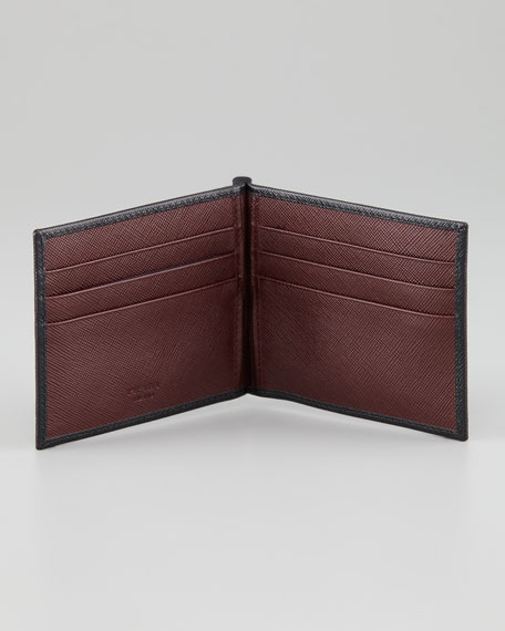 Clip Wallet, Black/Burgundy
