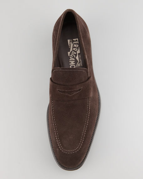Atlas Suede Penny Loafer, Brown
