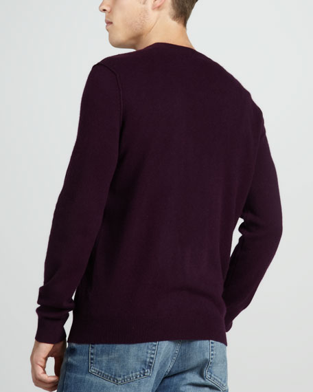 Cashmere V-Neck Sweater, Concord