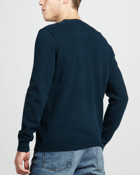 Cashmere V-Neck Sweater, Mallard
