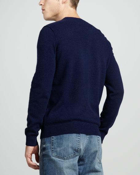 Cashmere V-Neck Sweater, Ultramarine