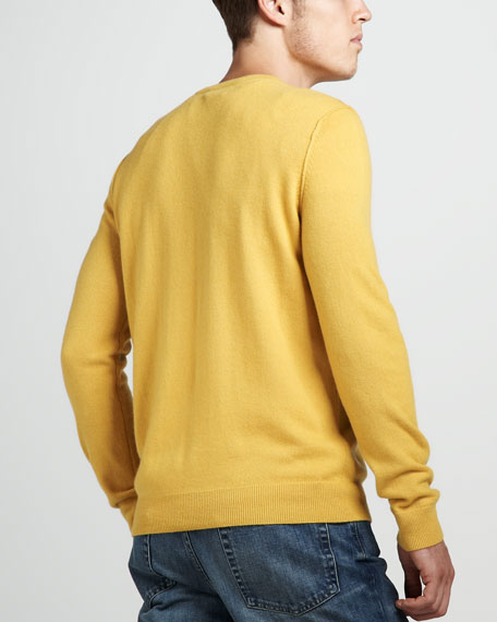 Cashmere V-Neck Sweater, Citrine