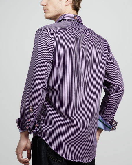 X Collection Twofer Striped Shirt, Purple