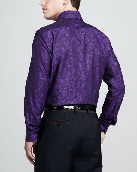 Tonal Paisley Sport Shirt, Purple