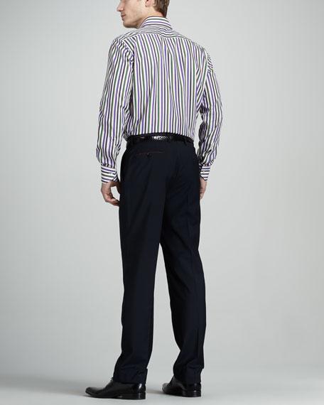 Paisley-Waist Wool Pants
