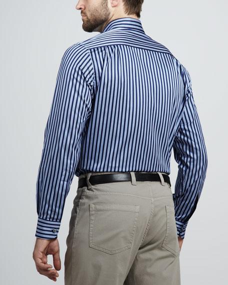 Striped Sport Shirt, Blue