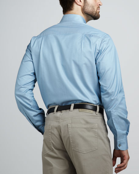 Melange-Trim Sport Shirt