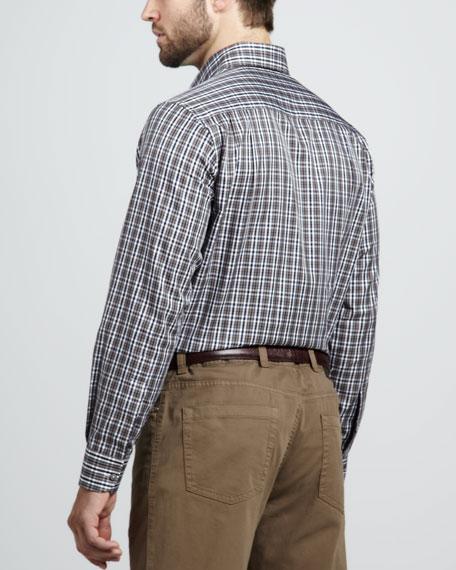 Plaid Sport Shirt, Chocolate/Navy