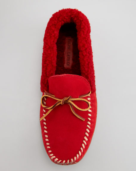 Shearling-Lined Suede Slipper, Red