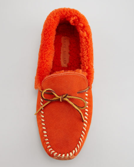 Shearling-Lined Suede Slipper, Orange