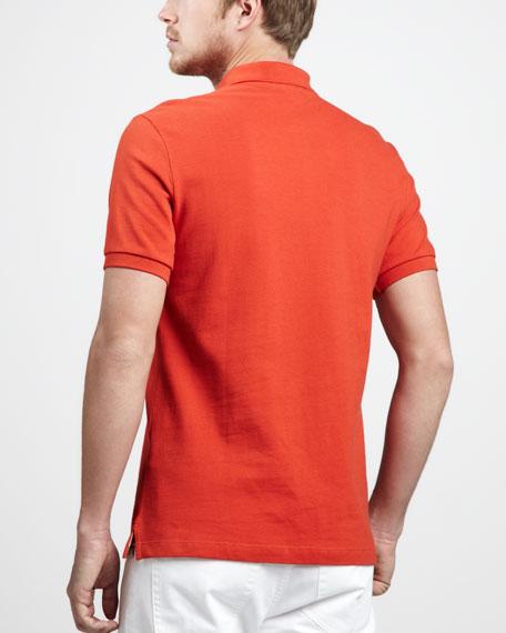 Check-Tape Pique Polo, Orange Red