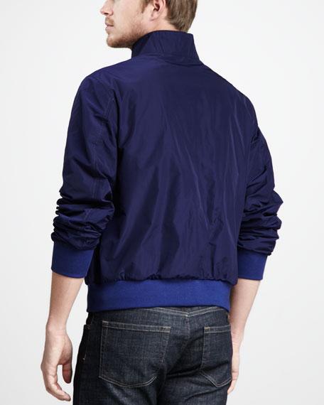Mock-Collar Zip Jacket, Bright Indigo