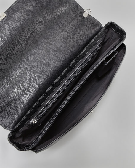 Revival Two-Gusset Briefcase, Black
