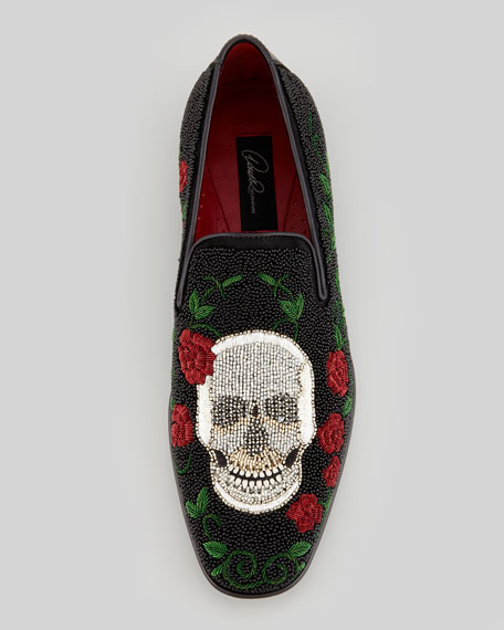 Pascow Beaded Skull Loafer, Black