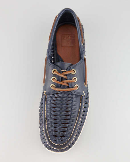 Sully Woven Boat Shoe, Navy