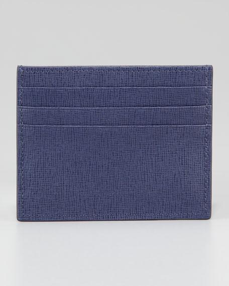Men's Crayon Saffiano Credit Card Case, Navy
