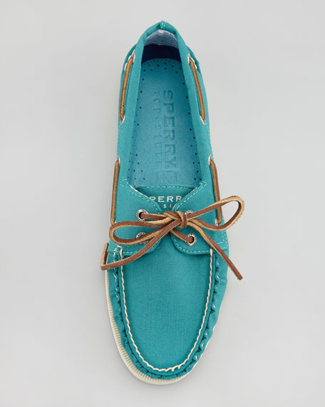 Canvas Boat Shoe, Teal
