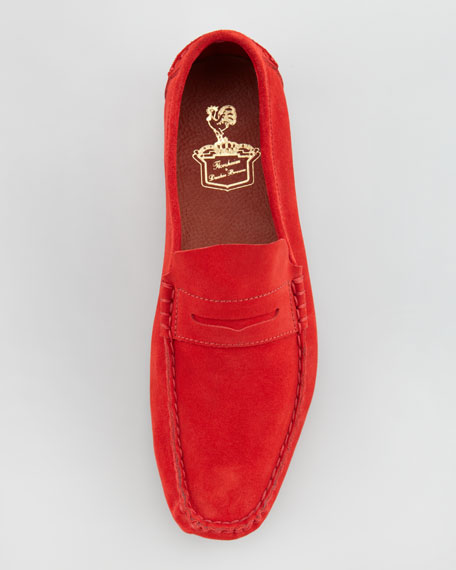 Suede Penny Loafer, Red