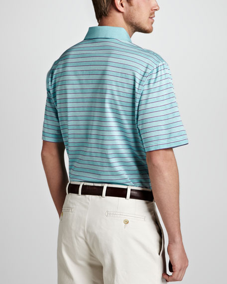 Jacquard-Stripe Polo, Saltwater