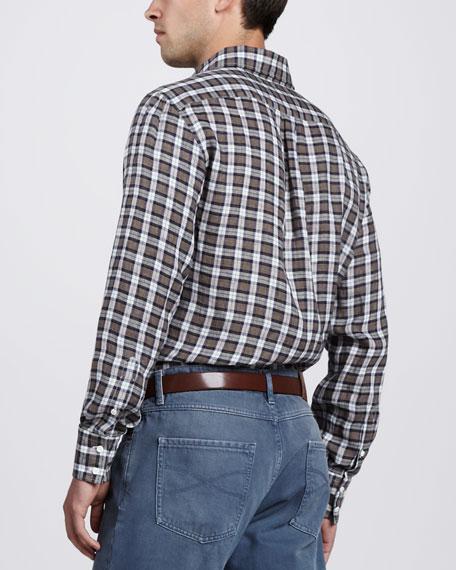Plaid Linen Sport Shirt, Brown/Blue