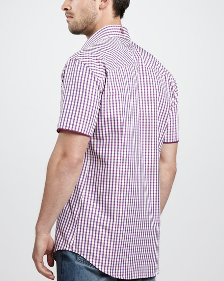Plaid Short-Sleeve Shirt, Purple