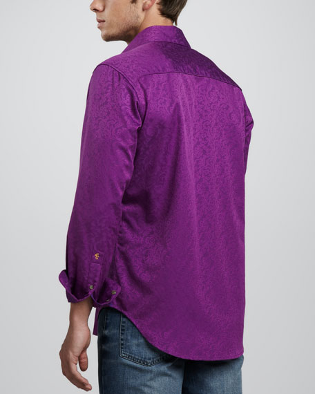 Back Flip Scrollwork Sport Shirt, Purple