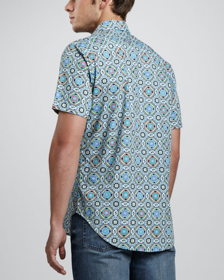 Inward Medallion-Print Short-Sleeve Shirt