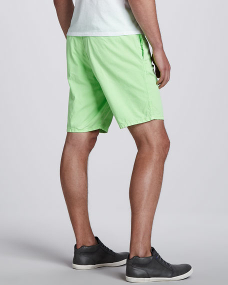 St. Martin Flat-Front Shorts, Neon Lime