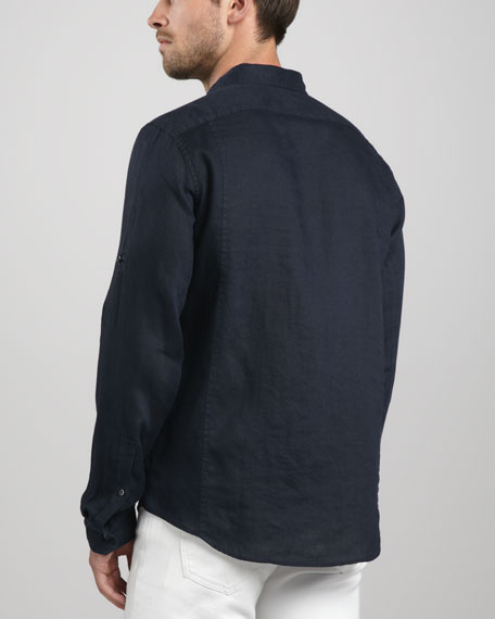 Two-Pocket Linen Shirt, Mid Blue