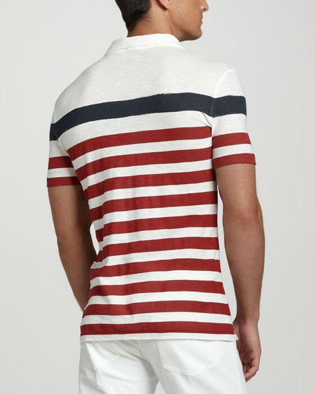 Striped Polo, White/Red/Navy