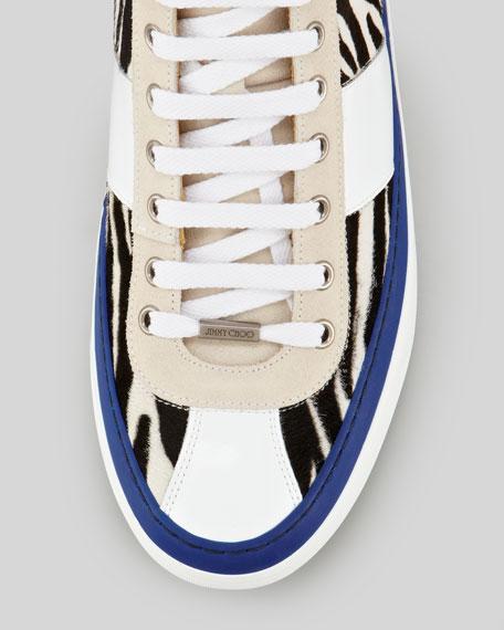 Belgravi Zebra-Print Calf Hair Hi-Top Sneaker