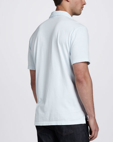 Sueded Jersey Polo, Powder Blue