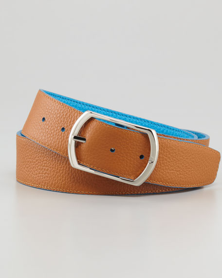 Reversible Pebbled Leather Belt, Aqua/Gold