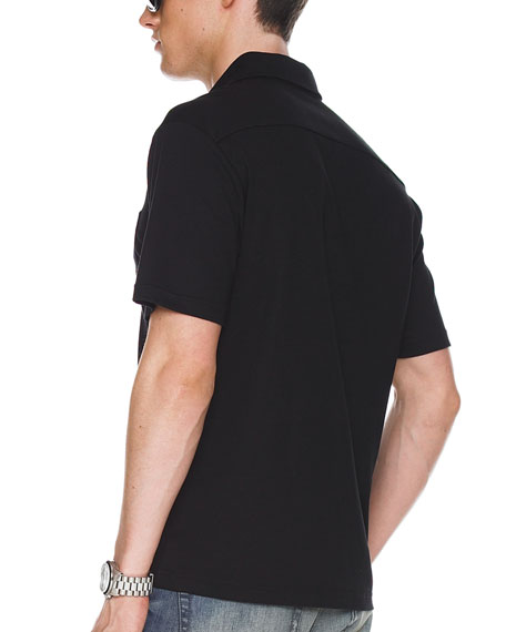 Metal-Button Polo, Black