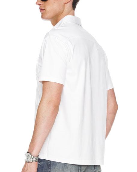 Metal-Button Polo, White