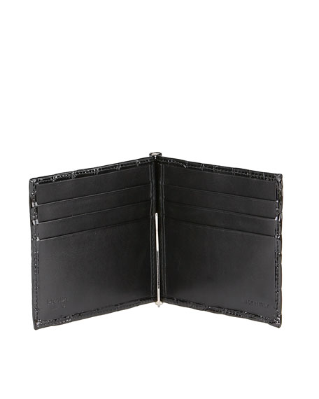 Croc-Embossed Wallet & Money Clip