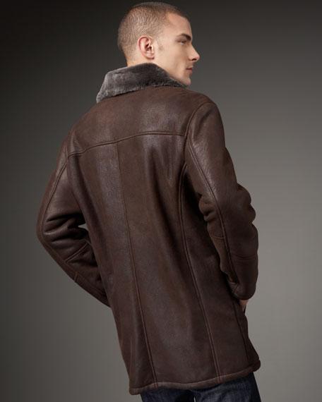 Shearling-Trim Leather Car Coat