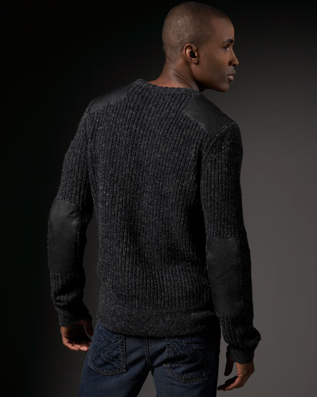 Chunky Leather-Patch Sweater