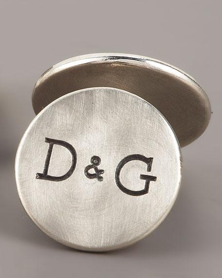 Unframed Round Silver Cuff links