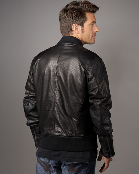 Perforated Leather Motorcycle Jacket