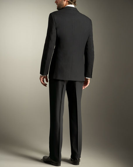 Giorgio Model Two-Button Wool Crepe Suit, Black
