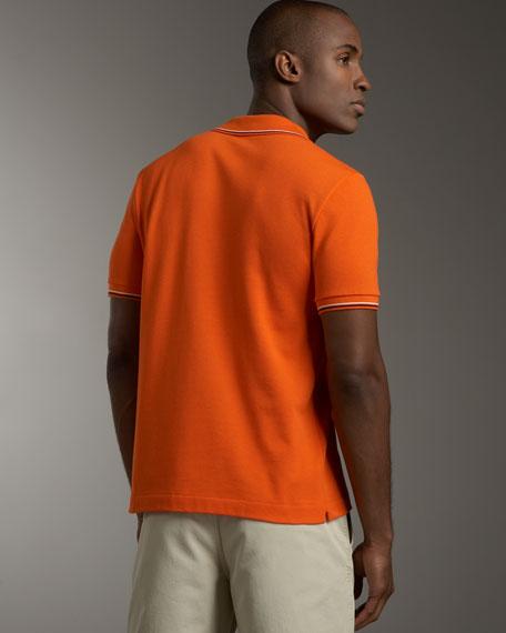 Tipped Polo, Apricot Orange