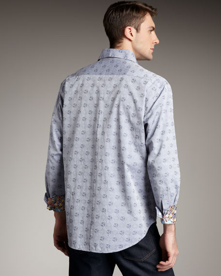 Amsterdam Pleated Medallion Shirt, Gray