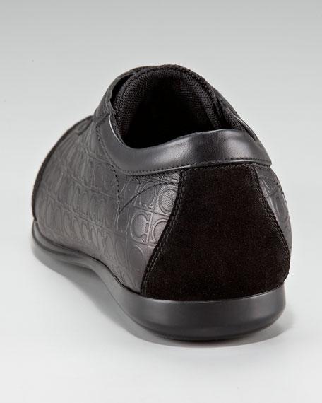 Salvatore Ferragamo Falkland Leather Sneaker, Black