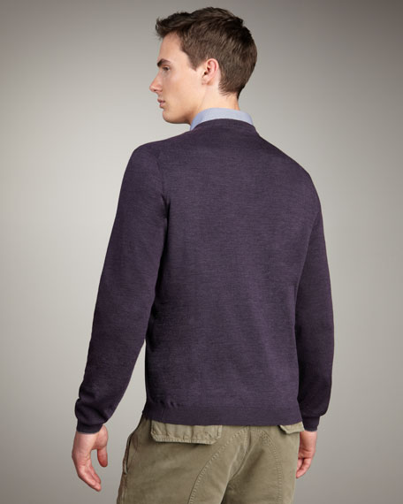Tipped Crewneck Sweater, Eggplant