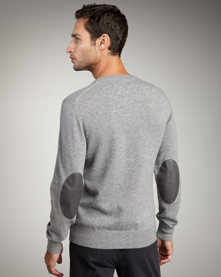Elbow-Patch Sweater, Gray